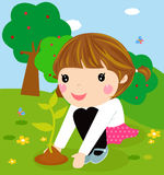 Happy kid is planting small plants. ,cartoon Royalty Free Stock Images
