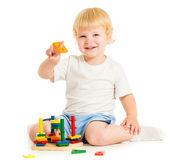 Happy kid playing education toys Stock Images
