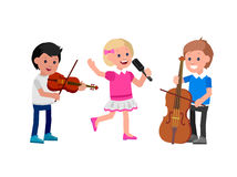 Free Happy Kid Playing On Contrabass, Singing Dancing Ballet. Stock Images - 72320614