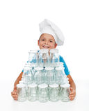 Happy kid preparing for autumn canning Royalty Free Stock Photography