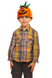 Happy kid with pumpkin hat. Happy kid boy with pumpkin hat isolated on white background Stock Image