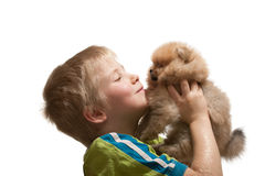 Happy kid and puppy Stock Images
