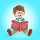 Happy kid reading book Stock Image