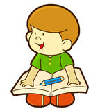 Happy kid reading and writing Royalty Free Stock Photography