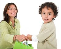 Happy kid receiving a gift Stock Photo