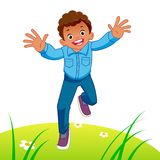 Happy kid running stock illustration
