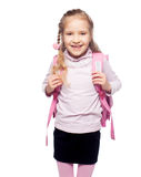 Happy kid with schoolbag Royalty Free Stock Images