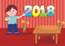 Happy kid show 2018 text royalty free stock photography