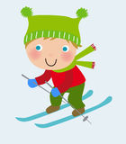 Happy kid skiing Royalty Free Stock Photography