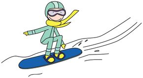 Happy kid snowboarding. Illustration of happy kid snowboarding Royalty Free Stock Photo