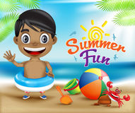 Happy Kid Summer Fun and Crab in a Sunny Bright Sky Design. Concept Including Beach Elements for Seashore. Vector Illustration Stock Image
