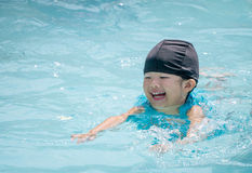 Happy kid swimming in the pool Royalty Free Stock Images