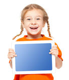 Happy kid with tablet Stock Photos