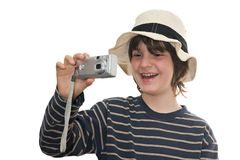 Happy kid taking a photo Royalty Free Stock Images