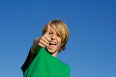 Happy kid thumb up Stock Image