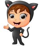 Happy kid wearing cat costume waving hand Stock Photo