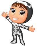 Happy kid wearing skeleton costume Stock Images
