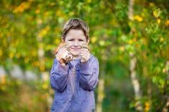Happy kid with wild mushrooms royalty free stock image