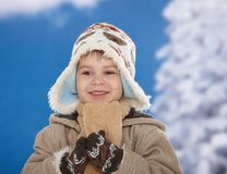Happy kid at winter Stock Photography