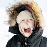 Happy Kid in Winter Stock Images