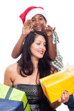 Happy kid and woman with Christmas presents Stock Photography