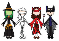 Happy kids. Kids holding hands in Halloween costumes stock illustration