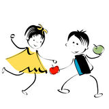 Happy kids. Little girl and boy; happy kids, stylized hand drawing design Stock Photo