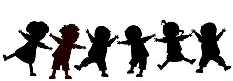 Happy kids. Children silhouettes, group of happy kids Royalty Free Stock Images