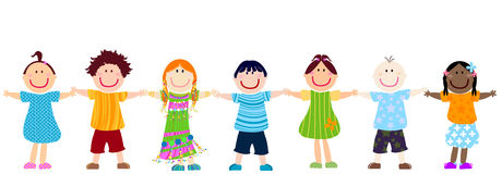 Happy kids. Diversity; happy kids hand - in - hand Royalty Free Stock Images