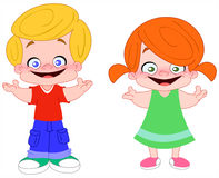Happy kids. Illustration of happy kids: a boy and a girl Stock Images