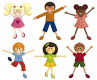 Happy kids. Set of happy multi-ethnic kids Stock Image