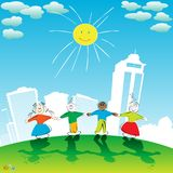 Happy kids. Group of children holding hands Stock Photos