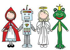 Happy kids. Kids holding hands in Halloween costumes (part of a series royalty free illustration