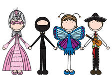 Happy kids. Vector illustration of four kids holding hands in costumes stock illustration