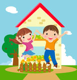 Happy kids. Illustration of boy and girl jumping Royalty Free Stock Images
