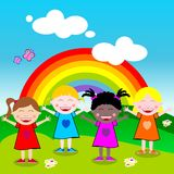 Happy Little Girls with Open Arms Outdoor. Four little girls from different Countries of the World stand in front of a rainbow with open arms. Concept of Royalty Free Stock Images