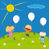 Happy kids. Happy children with balloon on meadow Royalty Free Stock Images