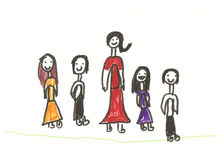 Happy kids. A child drawing of four happy kids standing next to their mother Stock Image