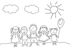 Happy kids. Drawing group of happy kids Royalty Free Stock Photography