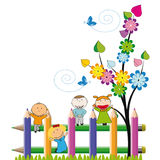 Happy kids. Small and happy kids on colorful fence Stock Photography