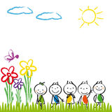 Happy kids. Small and happy kids in summer garden stock illustration