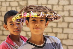 Egyptian boys. Playing in the street in Giza, Egypt Royalty Free Stock Images
