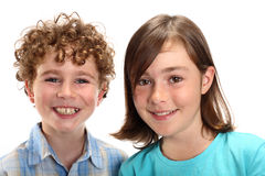Happy kids. Portrait of two young happy kids stock photos