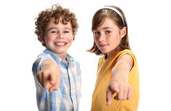 Happy kids. Portrait of two young happy kids stock photography