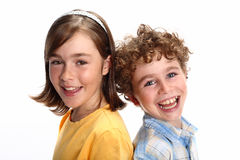 Happy kids. Portrait of two young happy kids stock image