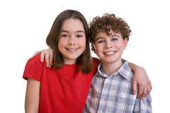 Happy kids. Portrait of two young happy kids royalty free stock photography
