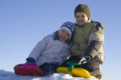 Happy kids. Children on snow Royalty Free Stock Image