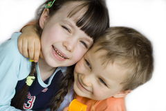 Happy kids. Sister and brother stock photography