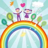 Happy kids. Cute children cartoon illustration - happy kids on rainbow Royalty Free Stock Image