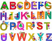 Happy Kids Alphabet Set. A set of alphabet letters with happy and diverse children climbing over them Royalty Free Stock Image